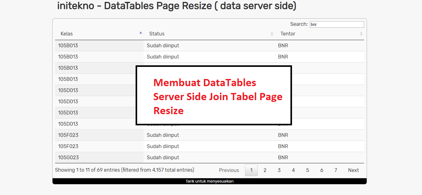 Cara Membuat DataTables Server Side Join Tabel Side Page Resize dengan PHP MySQL dan Ajax